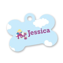 Girl Flying on a Dragon Bone Shaped Dog Tag (Personalized)