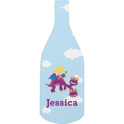 Girl Flying on a Dragon Bottle Shaped Cutting Board (Personalized)