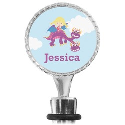 Girl Flying on a Dragon Wine Bottle Stopper (Personalized)