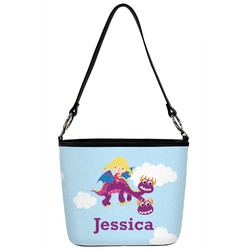 Girl Flying on a Dragon Bucket Bag w/ Genuine Leather Trim (Personalized)