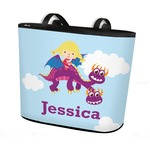Girl Flying on a Dragon Bucket Tote w/ Genuine Leather Trim (Personalized)