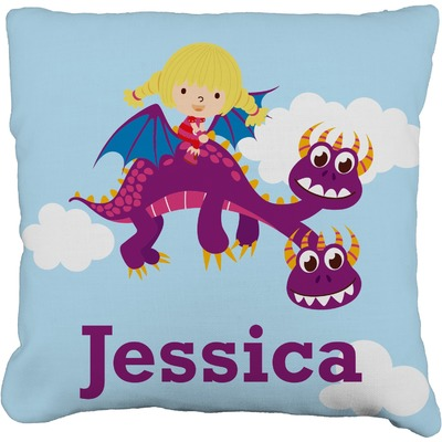 """Girl Flying on a Dragon Faux-Linen Throw Pillow 16"""" (Personalized)"""