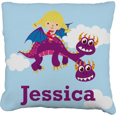 """Girl Flying on a Dragon Faux-Linen Throw Pillow 18"""" (Personalized)"""