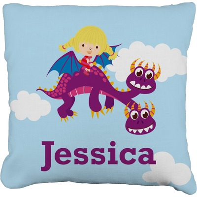 "Girl Flying on a Dragon Faux-Linen Throw Pillow 20"" (Personalized)"
