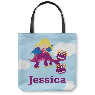 Girl Flying on a Dragon Canvas Tote Bag (Personalized)