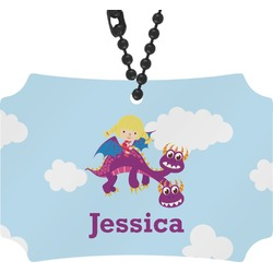 Girl Flying on a Dragon Rear View Mirror Ornament (Personalized)