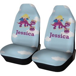 Girl Flying on a Dragon Car Seat Covers (Set of Two) (Personalized)