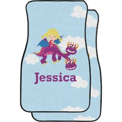 Girl Flying on a Dragon Car Floor Mats (Front Seat) (Personalized)