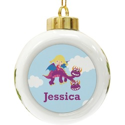 Girl Flying on a Dragon Ceramic Ball Ornament (Personalized)