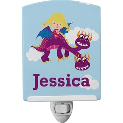 Girl Flying on a Dragon Ceramic Night Light (Personalized)