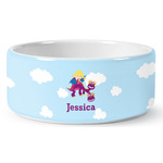 Girl Flying on a Dragon Ceramic Dog Bowl (Personalized)