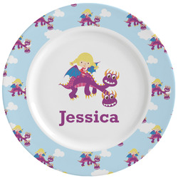 Girl Flying on a Dragon Ceramic Dinner Plates (Set of 4) (Personalized)