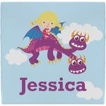 Girl Flying on a Dragon Ceramic Tile Hot Pad (Personalized)
