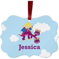 Girl Flying on a Dragon Ornament (Personalized)