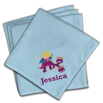 Girl Flying on a Dragon Cloth Napkins (Set of 4) (Personalized)