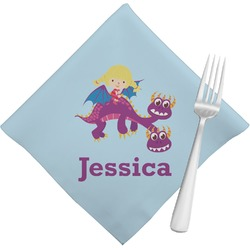 Girl Flying on a Dragon Napkins (Set of 4) (Personalized)
