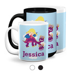 Girl Flying on a Dragon Coffee Mugs (Personalized)