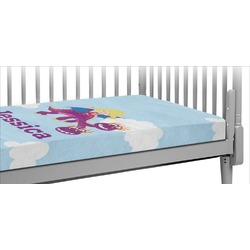 Girl Flying on a Dragon Crib Fitted Sheet (Personalized)