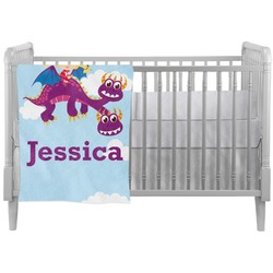 Girl Flying on a Dragon Crib Comforter / Quilt (Personalized)
