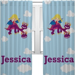 Girl Flying on a Dragon Curtains (2 Panels Per Set) (Personalized)