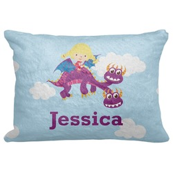 "Girl Flying on a Dragon Decorative Baby Pillowcase - 16""x12"" (Personalized)"