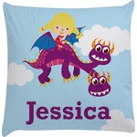 Girl Flying on a Dragon Decorative Pillow Case (Personalized)