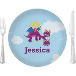 """Girl Flying on a Dragon Glass Lunch / Dinner Plates 10"""" - Single or Set (Personalized)"""