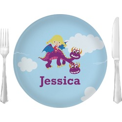 """Girl Flying on a Dragon 10"""" Glass Lunch / Dinner Plates - Single or Set (Personalized)"""