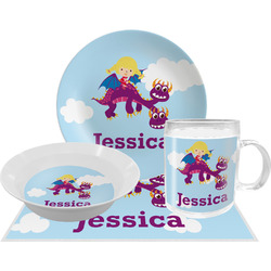 Girl Flying on a Dragon Dinner Set - 4 Pc (Personalized)
