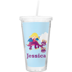 Girl Flying on a Dragon Double Wall Tumbler with Straw (Personalized)