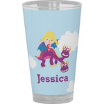 Girl Flying on a Dragon Drinking / Pint Glass (Personalized)