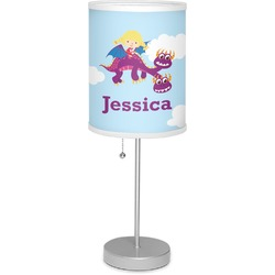 """Girl Flying on a Dragon 7"""" Drum Lamp with Shade (Personalized)"""