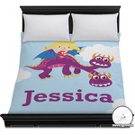 Girl Flying on a Dragon Duvet Cover (Personalized)