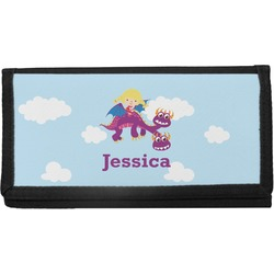 Girl Flying on a Dragon Canvas Checkbook Cover (Personalized)