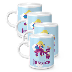 Girl Flying on a Dragon Espresso Mugs - Set of 4 (Personalized)