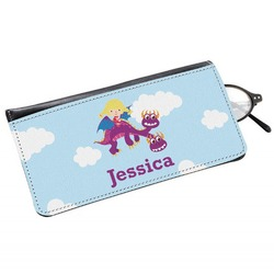 Girl Flying on a Dragon Genuine Leather Eyeglass Case (Personalized)