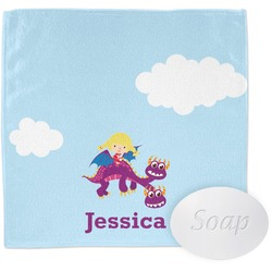 Girl Flying on a Dragon Wash Cloth (Personalized)