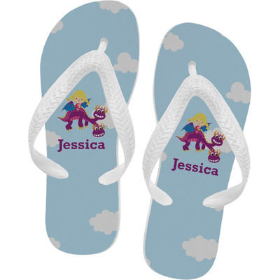 Girl Flying on a Dragon Flip Flops (Personalized)