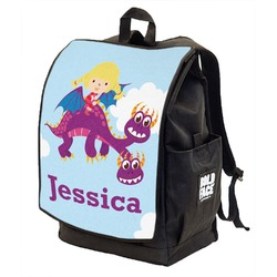 Girl Flying on a Dragon Backpack w/ Front Flap  (Personalized)