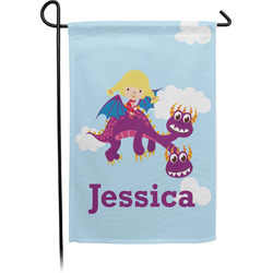 Girl Flying on a Dragon Single Sided Garden Flag With Pole (Personalized)