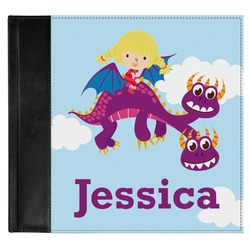 Girl Flying on a Dragon Genuine Leather Baby Memory Book (Personalized)