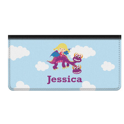 Girl Flying on a Dragon Genuine Leather Checkbook Cover (Personalized)