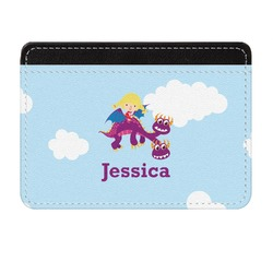 Girl Flying on a Dragon Genuine Leather Front Pocket Wallet (Personalized)