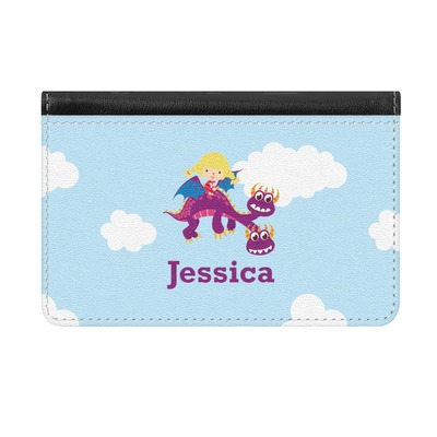 Girl Flying on a Dragon Genuine Leather ID & Card Wallet - Slim Style (Personalized)