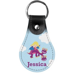 Girl Flying on a Dragon Genuine Leather  Keychain (Personalized)