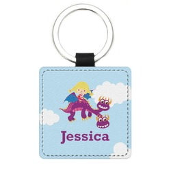 Girl Flying on a Dragon Genuine Leather Rectangular Keychain (Personalized)