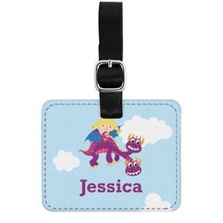 Girl Flying on a Dragon Genuine Leather Rectangular  Luggage Tag (Personalized)