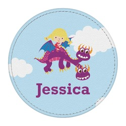 Girl Flying on a Dragon Round Desk Weight - Genuine Leather  (Personalized)