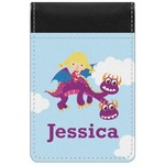 Girl Flying on a Dragon Genuine Leather Small Memo Pad (Personalized)