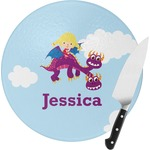 Girl Flying on a Dragon Round Glass Cutting Board (Personalized)
